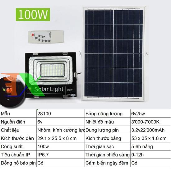 Picture of Đèn led năng lượng mặt trời SUN-28100 100W, Đèn năng lượng mặt trời IP 67