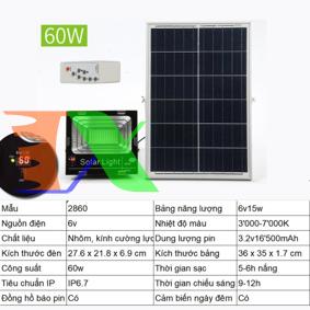 Ảnh của Đèn led năng lượng mặt trời SUN-2860 60W, Đèn năng lượng mặt trời IP 67
