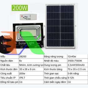 Ảnh của Đèn led năng lượng mặt trời SUN-28200 200W, Đèn năng lượng mặt trời IP 67