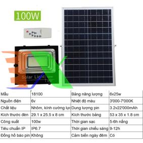 Ảnh của Đèn led năng lượng mặt trời SUN-18100 100W, Đèn năng lượng mặt trời IP 67