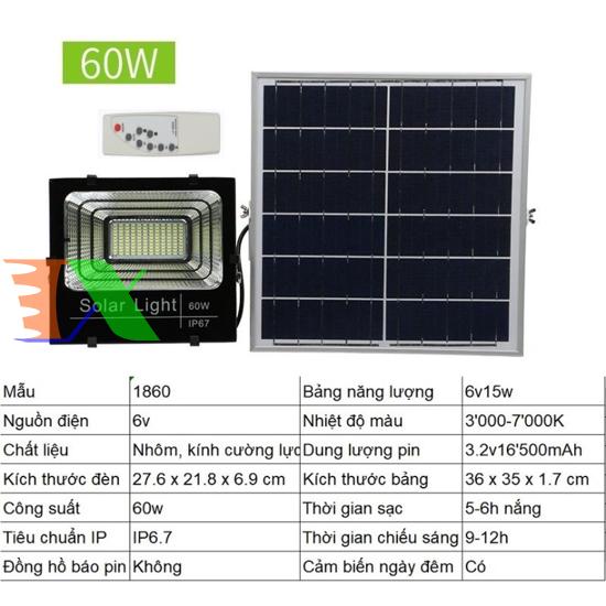 Picture of Đèn led năng lượng mặt trời SUN-1860 60W, Đèn năng lượng mặt trời IP 67