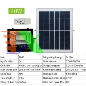 Ảnh của Đèn led năng lượng mặt trời SUN-1840 40W, Đèn năng lượng mặt trời IP 67