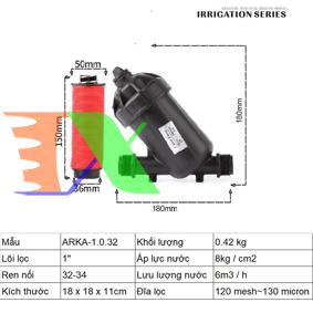 """Ảnh của Lọc đĩa chữ Y ARKA-1.0.32 (1"""" (inch), ϕ32), Lọc đĩa tưới cây, Lọc nước chữ Y"""