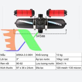 """Ảnh của Lọc đĩa chữ H ARKA-3.0.90H (3.0"""" (inch), ϕ90), Lọc đĩa tưới cây, Lọc nước chữ H"""