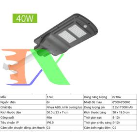 Ảnh của Đèn led năng lượng mặt trời MON-1740 40W, Đèn năng lượng mặt trời IP 65