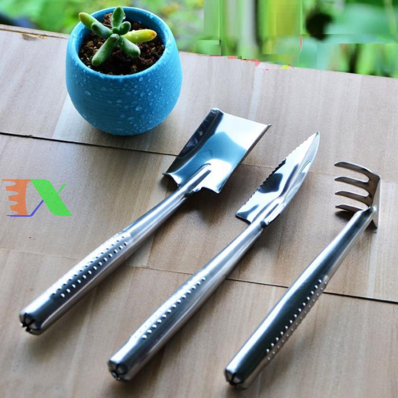 Bộ dụng cụ làm vườn 3 món (thép trắng)