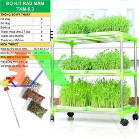 Picture of Bộ kit Khay trồng rau mầm thủy canh chuyên dụng TKM-6.3, Khay, Giá đỡ, Vòi xịt, Hạt giống