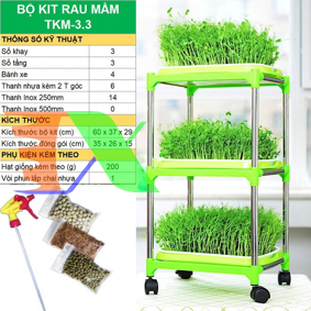 Picture of Bộ kit Khay trồng rau mầm thủy canh chuyên dụng TKM-3.3, Khay, Giá đỡ, Vòi xịt, Hạt giống
