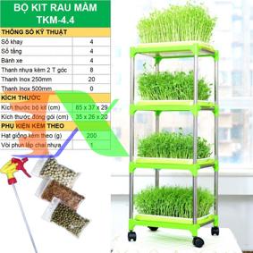 Ảnh của Bộ kit Khay trồng rau mầm thủy canh chuyên dụng TKM-4.4, Khay, Giá đỡ, Vòi xịt, Hạt giống