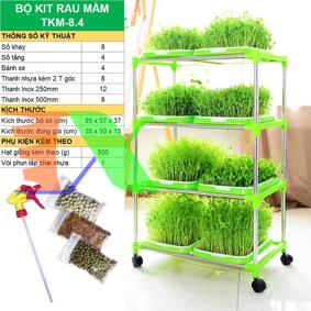 Picture of Bộ kit Khay trồng rau mầm thủy canh chuyên dụng TKM-8.4, Khay, Giá đỡ, Vòi xịt, Hạt giống