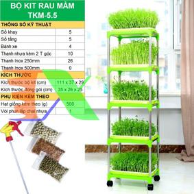 Picture of Bộ kit Khay trồng rau mầm thủy canh chuyên dụng TKM-5.5, Khay, Giá đỡ, Vòi xịt, Hạt giống