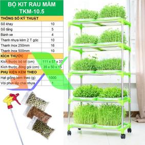 Picture of Bộ kit Khay trồng rau mầm thủy canh chuyên dụng TKM-10.5, Khay, Giá đỡ, Vòi xịt, Hạt giống