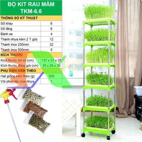 Picture of Bộ kit Khay trồng rau mầm thủy canh chuyên dụng TKM-6.6, Khay, Giá đỡ, Vòi xịt, Hạt giống