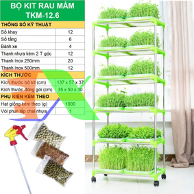 Picture of Bộ kit Khay trồng rau mầm thủy canh chuyên dụng TKM-12.6, Khay, Giá đỡ, Vòi xịt, Hạt giống