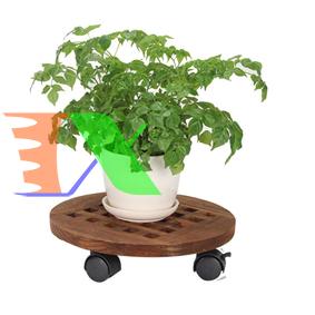 Ảnh của Giá để chậu hoa bằng gỗ TDG-30 cm, Kệ để chậu cây cảnh 4 bánh, Đế chậu cây có bánh xe lăn