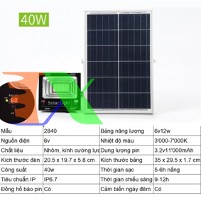 Ảnh của Đèn led năng lượng mặt trời SUN-2840 40W, Đèn năng lượng mặt trời IP 67 Có báo pin