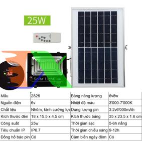 Ảnh của Đèn led năng lượng mặt trời SUN-2825 25W, Đèn năng lượng mặt trời IP 67 Có báo pin