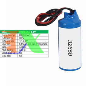 Picture of Pin lithium ion 32650 8000mAh 3.2V Sắt Phosphate  32650, Mạch bảo vệ, Dây