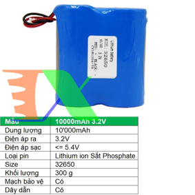 Picture of Pin lithium ion 32650 10000mAh 3.2V Sắt Phosphate  32650, Mạch bảo vệ, Dây