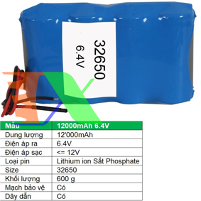 Picture of Pin lithium ion 32650 12000mAh 6.4V Sắt Phosphate  32650, Mạch bảo vệ, Dây