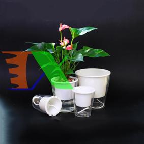 Picture of Chậu 2 lớp trồng Hoa Cây cảnh để bàn W03, Bể 2 đáy chứa nước nuôi cá, Cốc trồng cây tự hút nước