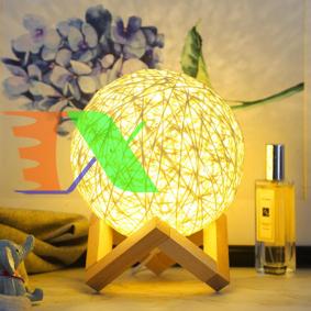 Picture of Đèn ngủ cầu mây đơn sắc GO-03, Đèn ngủ, Đèn led trang trí để bàn ấm áp