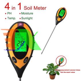 Ảnh của Máy đo PH điện tử, Dụng cụ đo độ PH đất 4 trong 1, Que thử PH, Độ ẩm, Ánh sáng, Nhiệt độ
