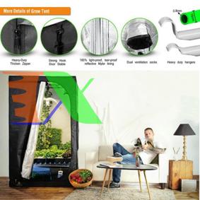 Picture of Lều trồng cây 200*200*200 cm, Nhà trồng nấm, Vải 600D phản quang, Grow tent