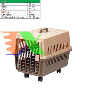 Ảnh của Lồng vận chuyển Pet có Bánh xe (Size L) LHK-L, Lồng hàng không cho Chó,  Mèo, Thú cưng 10-22 kg
