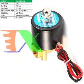 """Ảnh của Van điện từ 2W-025-08 1/4"""", Φ12 mm, Van điện từ lõi đồng AC 220V,  Solenoid valve"""