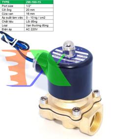 """Ảnh của Van điện từ 2W-160-15 1/2"""", Φ21 mm, Van điện từ lõi đồng AC 220V, Solenoid valve"""