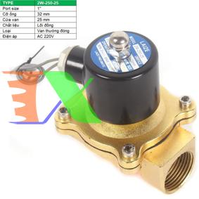 """Ảnh của Van điện từ 2W-250-25 1"""", Φ34 mm, Van điện từ lõi đồng AC 220V, Solenoid valve"""