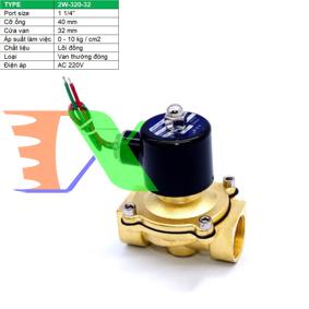 """Ảnh của Van điện từ 2W-320-32 1 1/4"""", Φ42 mm, Van điện từ lõi đồng AC 220V, Solenoid valve"""