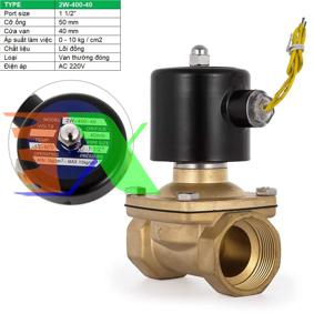 """Ảnh của Van điện từ 2W-400-40 1 1/2"""", Φ50 mm, Van điện từ lõi đồng AC 220V, Solenoid valve"""