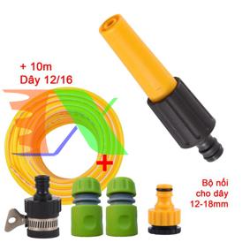 Ảnh của Bộ vòi xịt nước tưới cây, rửa xe VOI-N16.629, Bộ vòi thẳng 5 món đa năng + Dây 12/16 mm