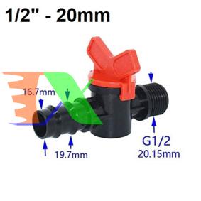 """Ảnh của Khởi thủy Van khóa TM-20B Ren 21 ra ống Φ20 mm, Van khóa dây PE LDPE HDPE PVC 1/2""""-20 mm"""