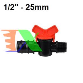 """Ảnh của Khởi thủy Van khóa TM-25B Ren 21 ra ống Φ25 mm, Van khóa dây PE LDPE HDPE PVC 1/2""""-25 mm"""