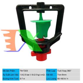 Ảnh của Đầu tưới xoay phun mưa trơn 6mm TM-7203, Béc tưới xòe 360°, Béc bọ tưới tự động