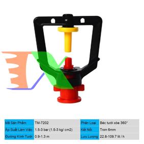 Ảnh của Đầu tưới xòe phun mưa trơn 6 mm TM-7202, Béc tưới xòe 360°, Béc bọ tưới tự động