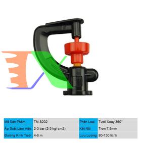 Ảnh của Đầu tưới xoay phun mưa trơn 7.5 mm TM-8202, Béc tưới xòe 360°, Béc bọ tưới tự động