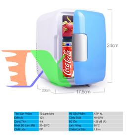 Picture of Tủ lạnh mini cho ô tô ATP-4L, Tủ lạnh cỡ nhỏ 4 lit cho xe hơi 48W, Tủ lạnh cho du lịch, dã ngoại