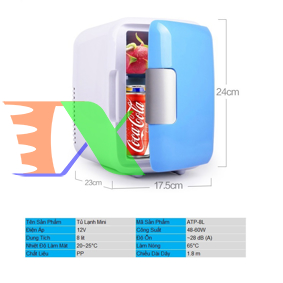 Picture of Tủ lạnh mini cho ô tô ATP-8L, Tủ lạnh cỡ nhỏ 8 lit cho xe hơi 48W, Tủ lạnh cho du lịch, dã ngoại