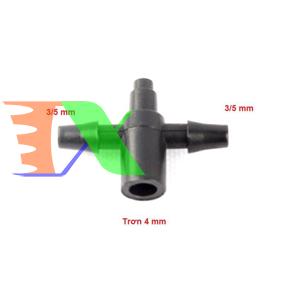 Picture of Tê chia 3 CHIA2.35, 1 đầu trơn 4 mm, 2 đầu gân 3/5, Bộ chia 2 cho dây PVC PE 3/5 mm