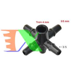 Picture of Tê chia 5 CHIA4.35, 1 đầu trơn 4 mm, 4 đầu gân 3/5, Bộ chia 4 cho dây PVC PE 3/5 mm