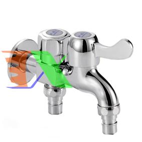 Ảnh của Vòi nước 2 đầu ra đa năng XRUI-HK, Vòi kép 2 van khóa gắn tường dành cho máy giặt