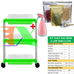 Picture of Bộ kit Khay trồng rau mầm thủy canh 3 lớp 3KM, Gồm Khay, Giá đỡ, Bình xịt, Hạt giống